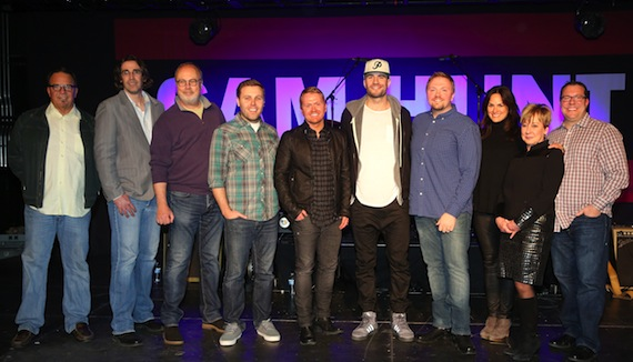 Pictured (l-r): Three Mules Music's Chris Hunter; Country Aircheck's Chuck Aly; Universal Music Group's Mike Dungan; producer Zach Crowell; co-writers Shane McAnally, Sam Hunt and Josh Osborne; ASCAP's LeAnn Phelan; Black River Publishing's Celia Froehlig; and Universal Music Publishing's Kent Earls. Photo by Alan Poizner.