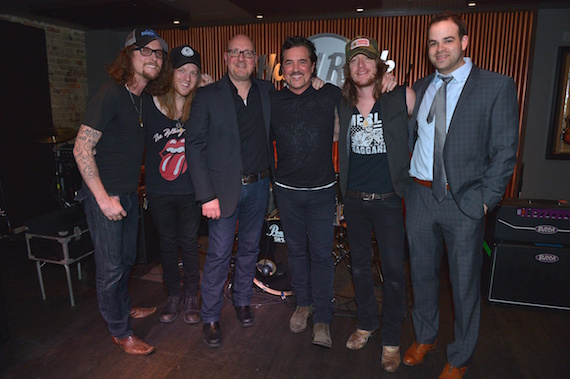 Pictured (L-R): The Cadillac Three's Kelby Ray and Neil Mason, BMR SVP Promotion, Jack Purcell, BMLG President & CEO Scott Borchetta, The Cadillac Three's Jaren Johnston and Triple8 Management's Bruce Kalmick.