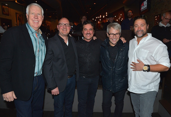 Pictured (L-R): The Valory Music Co. SVP Promotion GEORGE BRINER, Big Machine Records SVP Promotion Jack Purcell, Big Machine Label Group President & CEO Scott Borchetta, BMLG EVP & Republic Nashville President Jimmy Harnen and Dot Records GM Chris Stacey.