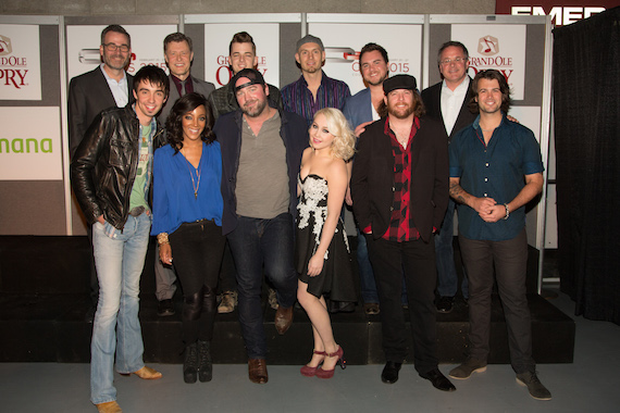 Top Row: Steve Buchanan (President Opry Entertainment Group), Bill Cody, Chase Bryant, Jon Jones, Mike Eli, Pete Fisher (Opry Vice President & General Manager) Front Row: Mo Pitney, Mickey Guyton, Lee Brice, RaeLynn, James Young, Chris Thompson. Photo: Chris Hollo/Grand Ole Opry