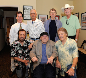 Pictured (L-R, from back): Museum Editor Michael Gray, Gene Chrisman, Bobby Emmons and Weldon Myrick; (front row) Bobby Wood, Chips Moman and Reggie Young