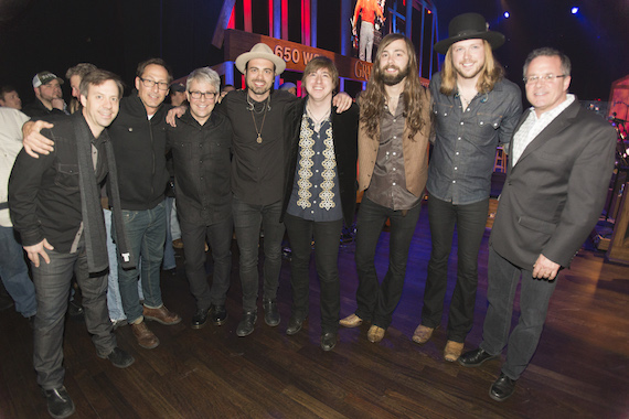 Pictured (L-R): Republic Nashville's Matthew Hargis, McGhee Ent.'s Scott Mcghee, Republic Nashville's Jimmy Harnen, A Thousand Horses: Zach Brown, Bill Satcher, Graham DeLoach and Michael Hobby, and the Grand Ole Opry's Pete Fisher Photo: Chris Hollo