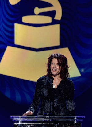Rosanne Cash accepts a Grammy honor during the Awards Premiere Ceremony on Feb. 8 in Los Angeles