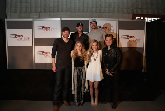 Pictured (L-R, back row): Eric Paslay, Cole Swindell, Sam Hunt. (L-R, front row): Maddie & Tae, Frankie Ballard. Photo: AristoPR