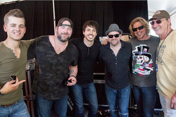 Pictured (L-R): Chase Bryant; Lee Brice; Morgan Evans; Kristian Bush; Jeffrey Steele and promoter Ron Potts at the CMC Songwriters Show. Photo courtesy Jeremy Dylan