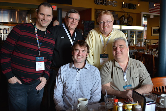Standing: Ryan McCall ( WGLR Radio), Dr. Dave (KDKD Radio), Mike Thomas (KFAV Radio) Seated: James Carothers and Dave Stanford (WDHR Radio)