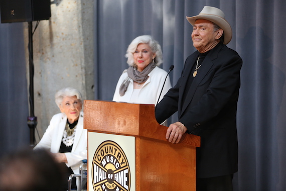 """Jim Ed Brown and The Browns (Maxine, left, and Bonnie) are announced as the newest inductees into the Country Music Hall of Fame in the """"Veterans Era Artist"""" category. Photo: Alan Poizner / CMA"""