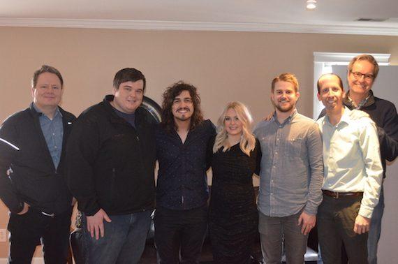 Pictured (L-R): Steve Ford, Centricity Music; Adam Taylor, Motion Management; Jordan Feliz; Jamie Feliz; Jon Sell, Ben Stauffer, John Mays, Centricity Music