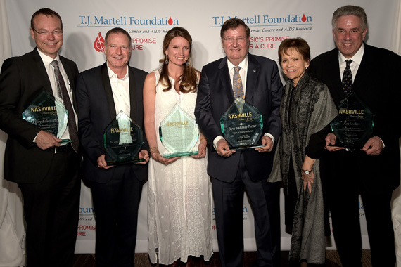 The 7th Annual T.J. Martell Honors Gala honorees. (L-R): Dr. Jeffrey Balser, the Medical Research Advancement Award; Bill and Billy Ray Hearn [not pictured], the Frances Preston Lifetime Music Industry Achievement Award; Becca Stevens, the Lifetime Humanitarian Award; Steve and Judy Turner, the Spirit of Nashville Award; and Ken Levitan, the Tony Martell Outstanding Entertainment Achievement Award.