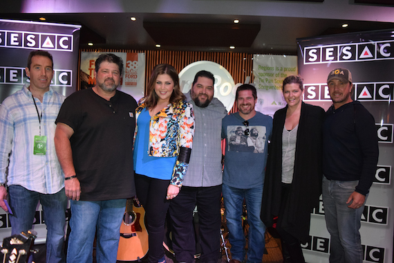 Pictured (L-R): Region Bank's Brian O'Meara, Larry McCoy, Hillary Scott, SESAC's Tim Fink, Rob Hatch, SESAC's Shannan Hatch and Lance Miller.  Photo: Bev Moser