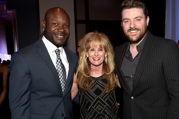 Keith Bullock, T.J. Martell Foundation's Laura Heatherly, and Chris Young attend the T.J. Martell Foundation's 7th Annual Nashville Honors Gala