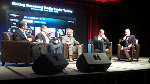 (L-R): Moderator Chris Barker (Partner, C3),  Derek Kuhn (QNX/Blackberry), Joel Hoffman (Chief Automotive Strategist/Intel), noted John Ellis (Ellis & Assoc., former Sr. Technologist/Ford), and  Paul Brenner (Emmis/NextRadio).