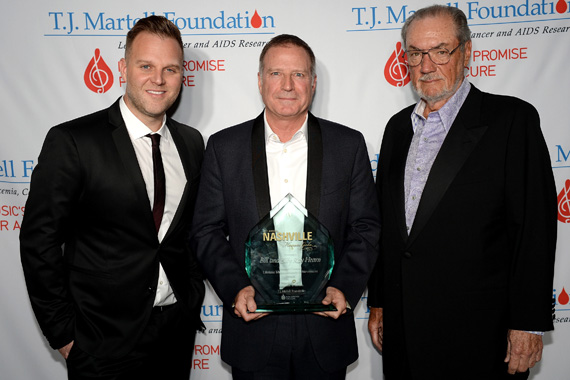 Bill Hearn (center) accepts the Frances Preston Lifetime Music Industry Achievement Award on behalf of his father, Billy Ray Hearn, along with Matthew West (left) and Jimmy Bowen (right) at the T.J. Martell Foundation's 7th Annual Nashville Honors Gala
