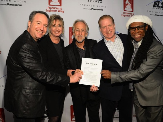 courtesy The Recording Academy/WireImage.com L-R)The Recording Academy's Daryl P. Friedman, Chief Advocacy & Industry Relations Officer; Maureen Droney, Managing Director, P&E Wing; and Neil Portnow, President/CEO join with Michael Huppe, President & CEO of SoundExchange, and GRAMMY winning songwriter/producer/guitarist Nile Rodgers to celebrate The AMP Act.