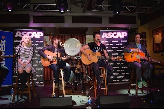 Pictured (L-R): RaeLynn, Jimmy Robbins, Michael Carter and JT Harding at the Hard Rock Cafe Friday night. Photo: Bev Moser