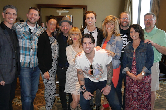 Pictured (L-R): Streamsound's CEO/President Steve Richardson,  WUBE's Jason Statt  'Stattman', Kaila Statt, Streamsound's Kristian Bush,  Teddi Bonadies, Dakota Bradley, Austin Webb, WUBE's Charri Chanderl, Big Dave and winners Chelsie Shinkle and Brad Shinkle. Photo: Streamsound Records