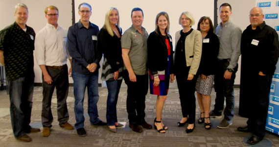 Pictured (L-R): Randy Wachtler (Warner/Chappell Production), John Ozier (ole), Craig Currier (peermusic), Ree Buchanan (AIMP Treasurer/Wrensong), John Allen (New West Records), Kim McCollum-Mele (Words & Music), Charlesworth, Denise Nichols (AIMP  Secretary/Primacy Firm), Brad Peterson (5/3 Bank), Marc Driskill (AIMP Exec. Director/Sea Gayle)