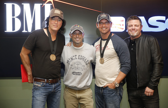 Pictured (L-R): David Lee Murphy, Kenny Chesney, Jimmy Yeary, and Rodney Clawson