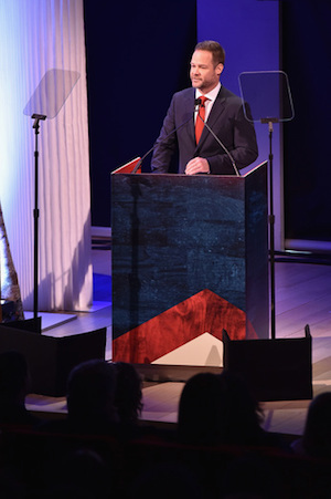 Executive VP of Development for CMT Jayson Dinsmore speaks onstage at the Annual 2015 CMT Upfront at The Times Center on April 2, 2015 in New York City. Photo: Larry Busacca/Getty Images for CMT