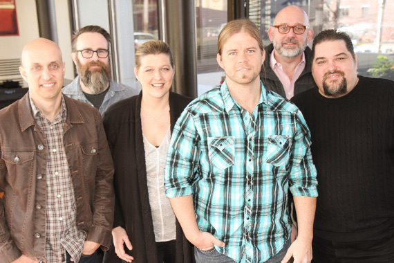 Pictured (L-R): Meld Music's Chad Segura, Fair Trade Music Publishing's Mark Nicholas, SESAC's Shannan Hatch, Helms, Fair Trade Music Publishing's Jeff Moseley and SESAC's Tim Fink. Photo: Bev Moser