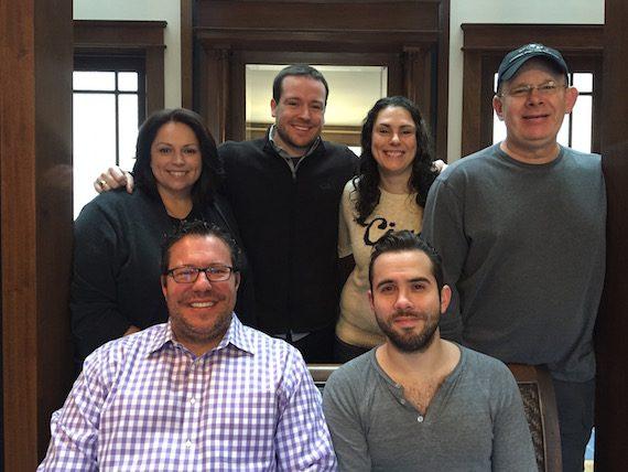 (Pictured, Back Row):  Cyndi Forman, UMPG VP, Creative; Travis Gordon, UMPG Creative Director; Missy Wilson, UMPG Sr. Creative Director; and Ron Stuve, UMPG VP A&R. (Front Row):  Kent Earls, EVP/GM, UMPG; and Sam Ellis.