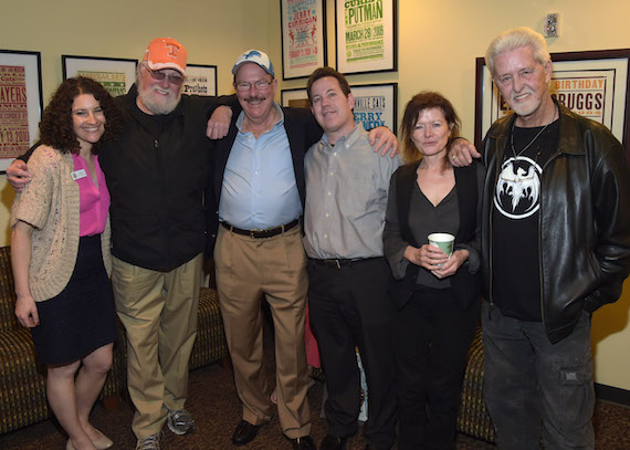(Pictured, L-R): The Country Music Hall of Fame and Museum's Abi Tapia, Charlie Daniels, Bob Wilson, the Country Music Hall of Fame and Museum's Michael Gray, music journalist Sylvie Simmons, and Ron Cornelius. Photo: Rick Diamond