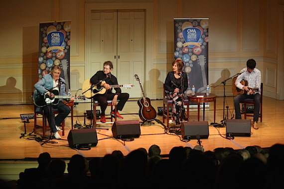 Pictured (L-R): Bill Anderson, Mac Davis, Pam Tillis, and Mo Pitney perform during the CMA Songwriters Series Tuesday night at the Library of Congress in Washington, D.C. Photo: Lisa Nipp / CMA