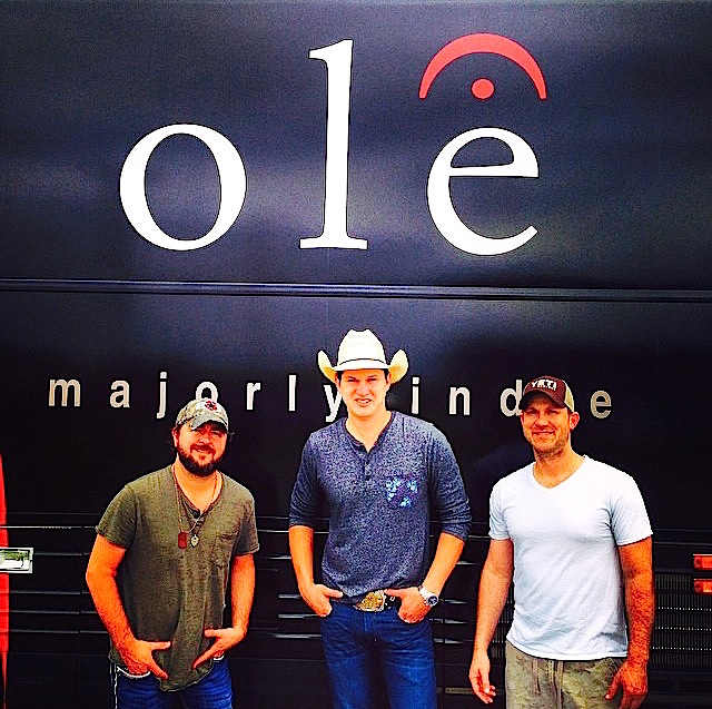 Pictured (L-R): Songwriter Bart Butler, artist Jon Pardi, and ole songwriter Jesse Rice.