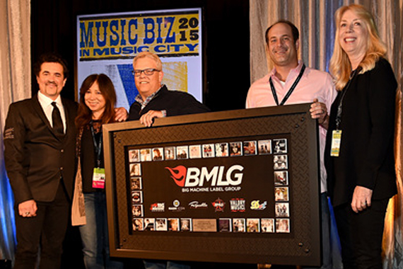 Pictured (L-R): Scott Borchetta (President and CEO of the Big Machine Label Group), Linda Kury (Vice President Sales Associated Labels at Universal Music Group), Troy Scott (Director of Label and Non-Trad Marketing at Universal Music Group),  Joshua Tario (Senior Director Sales - Catalog at Universal Music Group), and Candace Berry (EVP GM Universal Music Distribution). Photo: Rick Diamond.