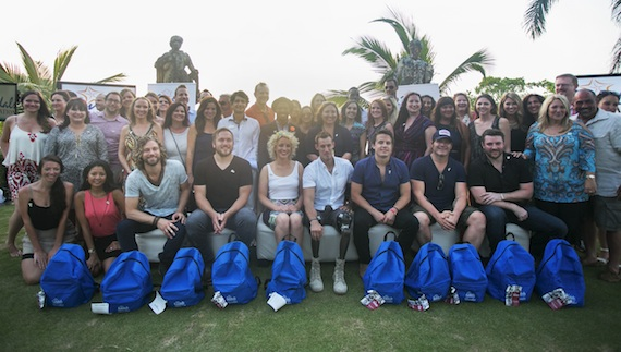 Artists and event sponsors gather for a photo op at the Memorial Day weekend Boots on the Beach Vacation event in Jamaica, hosted by Sandals Ochi Beach Resort to benefit the Boot Campaign. Photo: Katie Kauss