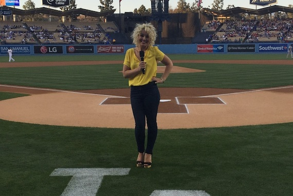 Cam on the field of Dodger Stadium