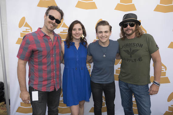 Pictured (L-R): Jeff Balding, president, Nashville Chapter of The Recording Academy; Alicia Warwick, executive director, Nashville Chapter of The Recording Academy; Hunter Hayes; George J. Flanigen IV, chair emeritus, The Recording Academy.