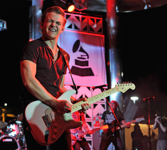 Hunter Hayes performs at the Grammy Block Party.