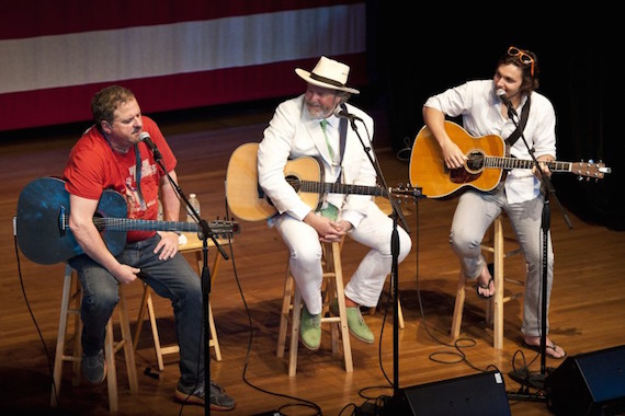 Pictured (L-R): Bob DiPiero, Robert Earl Keen and Charlie Worsham perform at the San Carlos Institute during the Key West Songwriter's Festival on May 7, 2015, in Key West, FL. Photo: Erika Goldring.