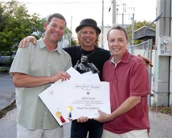 Pictured: BMI's Mark Mason and Jody Williams present Jeffrey Steele several millionaire play awards at the San Carlos Institute during Key West Songwriter's Festival on May 8, 2015, in Key West, Fla. Photo: Erika Goldring.