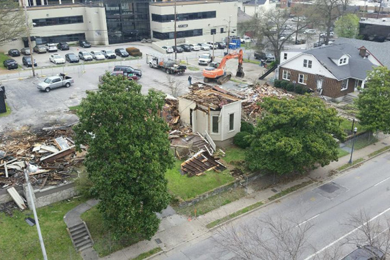 (March 26 & 27, 2015) Demolition on the 17th Ave. block of Music Row (54, 56, 58, 60, 62 and 64 Music Square West). Photo: Victoria Lazarus.