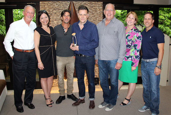 Pictured (L-R): Frank Bumstead, Chairman of Flood, Bumstead, McCready & McCarthy and CMA Board Chairman; Sally Williams, Vice President of Business and Partnership Development of Ryman Auditorium and CMA Board President-elect; Brett James, CMA Award-nominated songwriter and CMA Board member; CMA International Country Broadcaster Award winner Ricky Ross; John Esposito, President and CEO of Warner Music Nashville and CMA Board President; Sarah Trahern, CMA Chief Executive Officer; Jon Loba, Executive Vice President of BBR Music Group and Chairman of the CMA Awards and Recognition Committee. Photo: Christian Bottorff/CMA