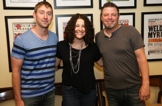 Pictured (L-R): Ashley Gorley, the Country Music Hall of Fame and Museum's Abi Tapia, and Rodney Clawson. Photo: Terry Wyatt, Getty Images