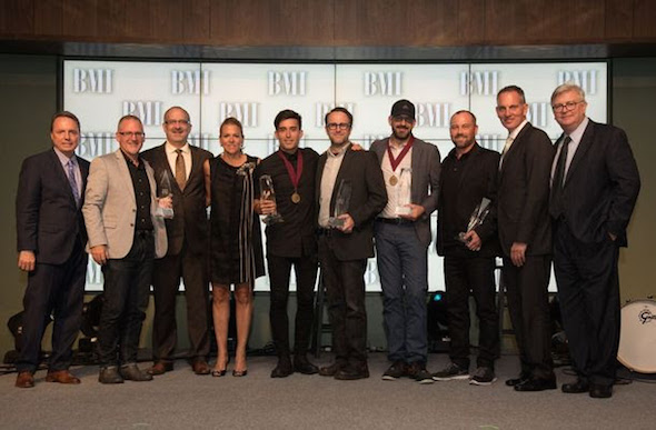 Pictured (L-R): BMI's Jody Williams, Capitol CMG's Jimi Williams and Casey McGinty, BMI's Leslie Roberts, BMI Songwriter Phil Wickham, Seems Like Music's Mark Nicholas, BMI Songwriter of the Year Chris Stevens, Sing My Songs' Peter Kipley, BMI President & CEO Mike O'Neill, BMI's Phil Graham (Photo by Steve Lowry)