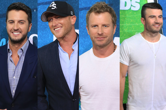 Pictured (L-R): Luke Bryan, Cole Swindell, Dierks Bentley, Sam Hunt. Photo: Bev Moser