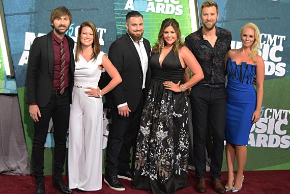 Pictured (L-R): Dave Haywood, Kelli Haywood, Chris Tyrell, Hillary Scott, Charles Kelley, Cassie McConnell. Photo: Bev Moser.