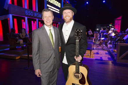 Nathan Chapman (r) makes his Opry debut and is welcomed by WSM AM's Bill Cody