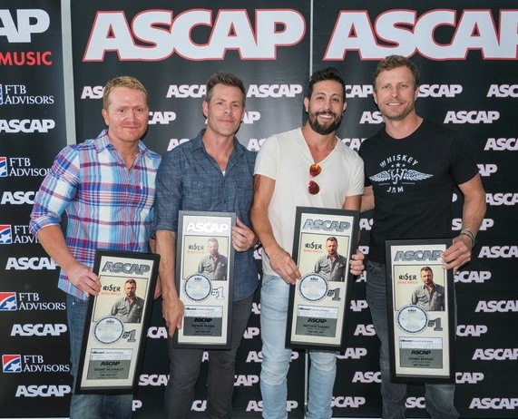 """Pictured (l-r): """"Say You Do"""" songwriters Shane McAnally, Trevor Rosen and Matthew Ramsey with ASCAP songwriter-artist Dierks Bentley. Photo by Ed Rode."""