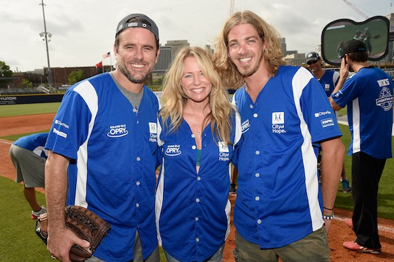 NASHVILLE, TN - JUNE 13: (L-R) Charles Esten, Deana Carter and Bucky Covington showed of their softball skills for charity at City of Hope's 25th Annual Celebrity Softball Game at the new First Tennessee Park during CMA Music Festival in Nashville.  (Photo by Rick Diamond/Getty Images for City Of Hope) *** Local Caption *** Charles Esten, Deana Carter, Bucky Covington