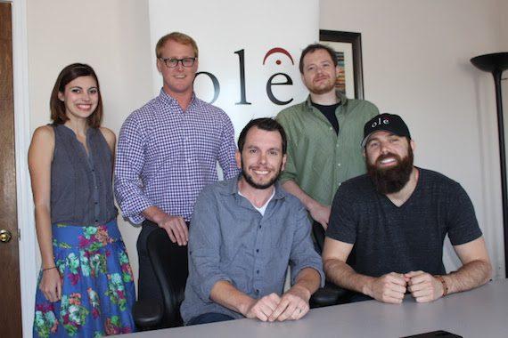 Pictured (L-R): Emily Mueller (ole Creative Manager), John Ozier<br />(ole GM Creative), Ben Strain (ole Creative Director), Jordan Davis, and Noah McPike (Almon & McPike, PLLC).
