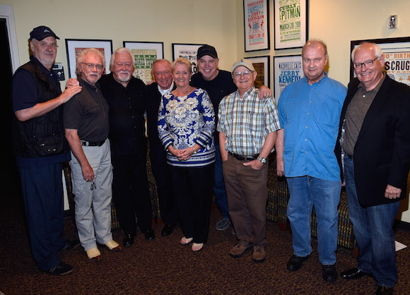 """Pictured (L-R): David Briggs, Bergen White, Jimmy Capps, Walker, Eddie Bayers, Country Music Hall of Fame Members Charlie McCoy and Hargus """"Pig"""" Robbins, and Steve Gibson"""