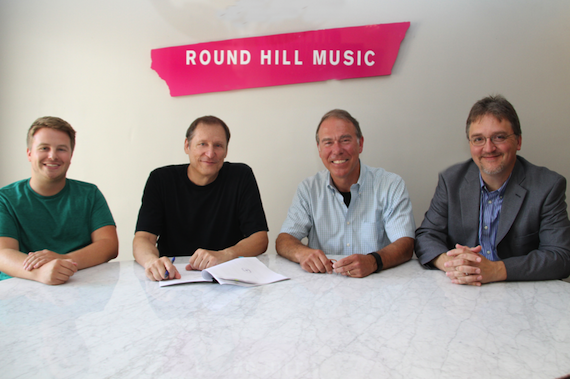 Pictured (L-R): Round Hill Music's Josh Saxe,  songwriter Wade Kirby, Round Hill Music's Mark Brown, and Round Hill Music's attorney, Mathew Beckett
