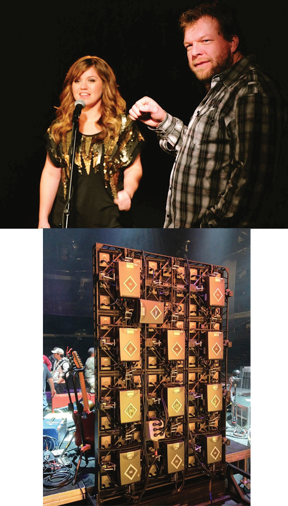 """(Top):Kelly Clarkson preps hologram-like video for """"Don't You Wanna Stay"""" with Scott Scovill. (Bottom): Inner workings of one of Scovill's two high definition LCD screens, created for concert tours by Moo TV. Photos: Moo TV"""