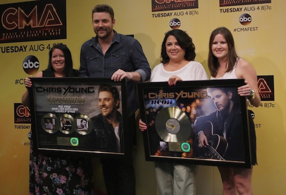 Pictured (L-R): Alaina Vehec (Director, Digital Sales, Sony Music Nashville), Chris Young, Caryl Healey (VP, Sales, Sony Music Nashville), Taylor Lindsey (Director, A&R, Sony Music Nashville) Photo: Katie Kauss
