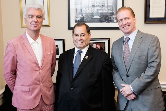 Pictured (L-R): David Byrne, Rep. Jerry Nadler (NY) and Michael Huppe.
